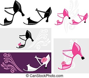 Dance shoes. Elements for design. Vector illustration