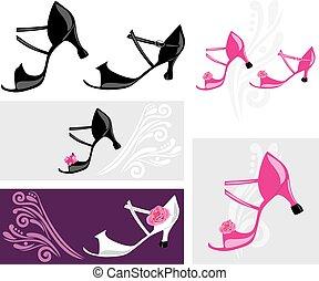 Dance shoes. Elements for design. Vector illustration