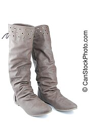 Women leather dark brown boots on white