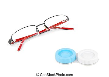 Glasses and contact lenses case on white - red glasses and...