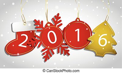 New Year tags on a snowy background Vector illustration