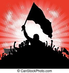protesters - abstract background with silhouette of...