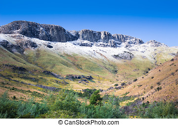 Snow tipped Amatola Mountains in Eastern Cape South Africa -...
