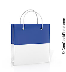 Coloured paper bag on a white background