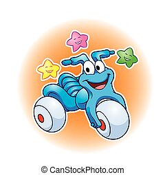 Cute tricycle cartoon and stars