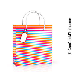 Coloured package with tags on white background