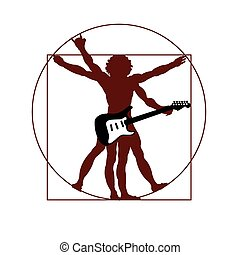 DaVincis vitruvian man ready to rock