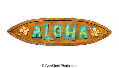 Aloha wooden sign. Path included. - Aloha wooden sign on a...