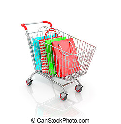 Trolley for supermarket which are multicolored paper bags...