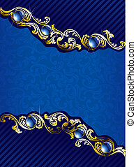 Elegant gold and blue background with gems, vertical -...