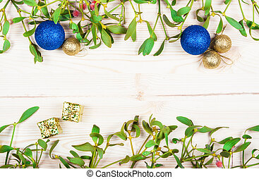 Christmas background border with gold bauble decorations,...