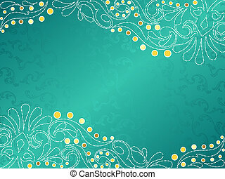 Turquoise background with delicate swirls, horizontal -...
