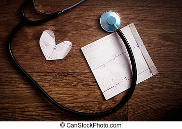 Stethoscope on a graph of the patient's heartbeat.