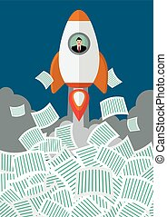 Businessman on rocket get away from a lot of documents