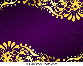 Purple background with gold filigree, horizontal - stylish...