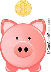 Piggy bank, with coin falling into