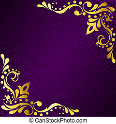 púrpura, marco, oro, Sari, inspirado, filigrana