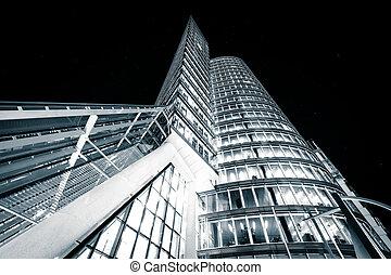 Modern building at night, in Vienna, Austria.