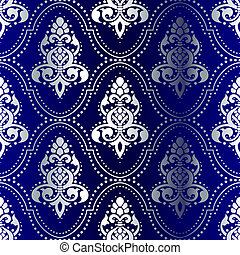 Silver on Blue seamless Indian pattern with dots - stylish...