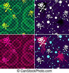 Four Emo seamless patterns - Urban style seamless patterns...
