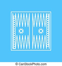 Vector outline icon - Vector outline backgammon table with...