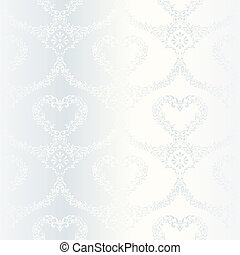 Victorian white satin wedding pattern with hearts - elegant...