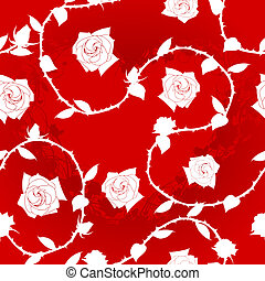 White on red seamless rose sari pattern - Seamless rose...