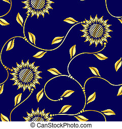 Seamless sunflower arabesque sari pattern - Seamless pattern...