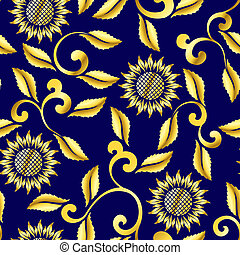Seamless sunflower and swirls sari pattern