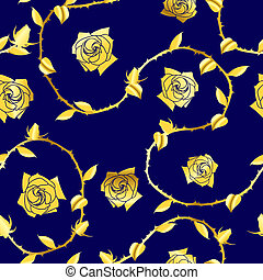 Gold on blue seamless rose sari pattern - Seamless rose...