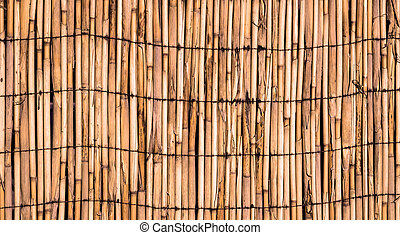 Texture of orange wall of bound bamboo