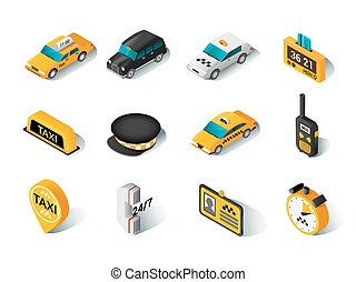 Taxi isometric icons set - Modern urban yellow hired taxi...
