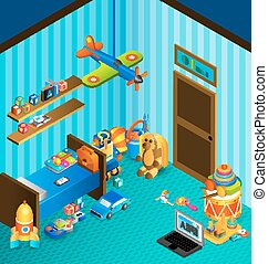 Playroom Concept Isometric - Child playroom concept with...
