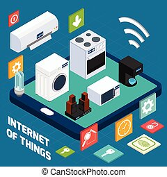 Iot concise household isometric concept icon - Ios household...