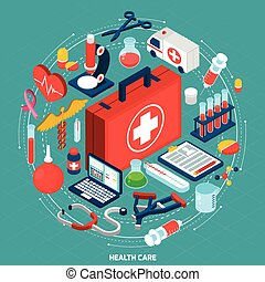 Healthcare concept isometric icon - Healthcare management...