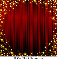 Red sparkly frame - Glossy dark red background with a golden...