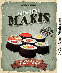 Grunge And Vintage Japanese Makis Poster