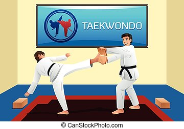 People Practicing Taekwondo - A vector illustration of...