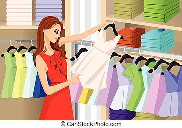 Girl Buying Clothes at a Store