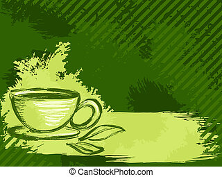 Horizontal grungy green tea background