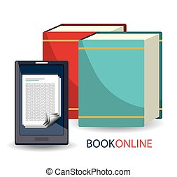 Book online and elearning graphic design, vector...