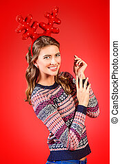 cheerful young woman - Happy smiling young woman wearing...