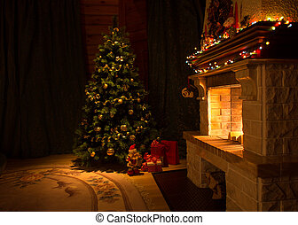 Living room with fireplace and decorated Christmas tree