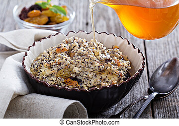 Russian traditional dish Kutia made from wheat with dried...