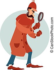 Cartoon flat detective - Vector image of a cartoon flat...