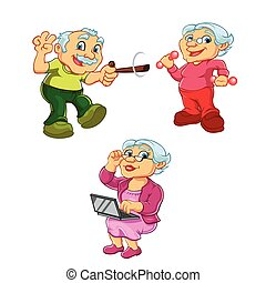old woman old man cartoon - Funny illustration of old woman...