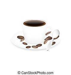 Coffee cup, spoon and coffee beans isolated on a white...