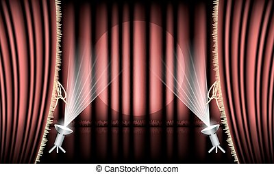 Theater stage with red curtain, gold hem and spotlights....