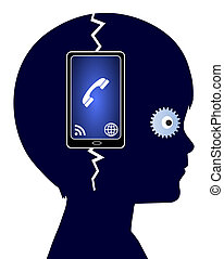 Cell Phone Addiction - Concept sign of a child who is...