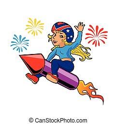 Girl riding a rocket firework
